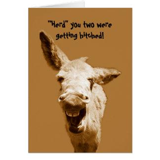 Deseos de risa del boda del burro tarjeta