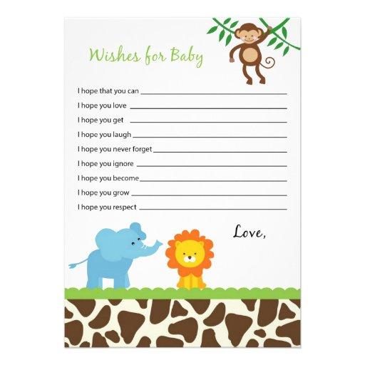 deseos del animal de la selva del safari para las tarjetas del consejo