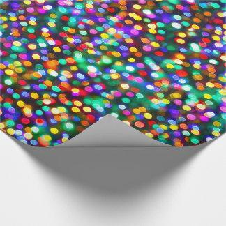 Deseos del cumpleaños de las luces de navidad papel de regalo