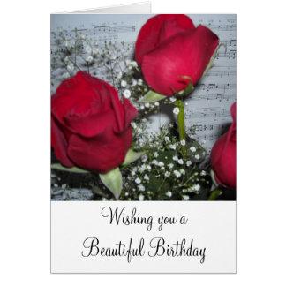 Deseos del cumpleaños de los rosas rojos tarjeta de felicitación