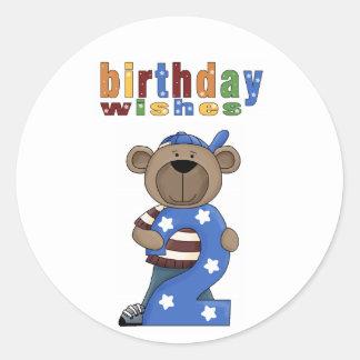 Deseos del cumpleaños del oso # 2 pegatinas de la pegatina redonda