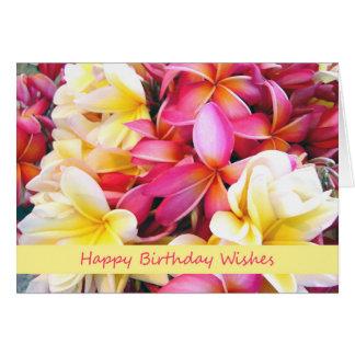 Deseos del cumpleaños, flores tropicales, Plumeria Tarjeta De Felicitación