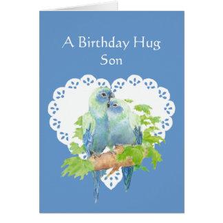 Deseos del cumpleaños para el hijo del pájaro del tarjeta de felicitación