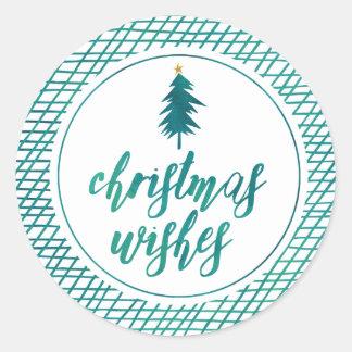 Deseos del navidad por el día de fiesta verde pegatina redonda