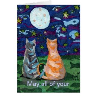 Deseos del sueño del gato del cumpleaños tarjeta