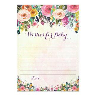 Deseos florales para las tarjetas del consejo del invitación 12,7 x 17,8 cm