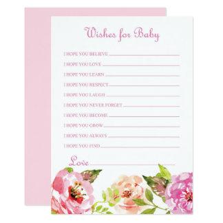 Deseos florales rosados para la tarjeta del bebé