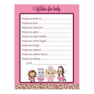 Deseos lindos de la fiesta de bienvenida al bebé postal