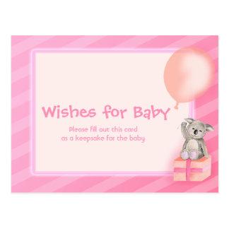 Deseos para la niña - postal de la fiesta de