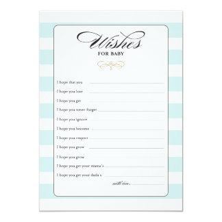 Deseos para la tarjeta de juego del bebé - azul invitación 12,7 x 17,8 cm