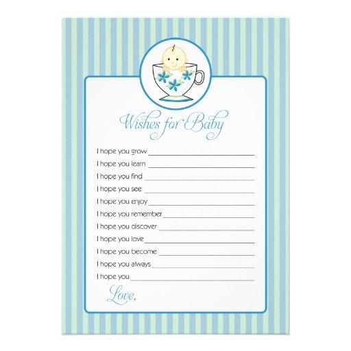 Deseos para la tarjeta del bebé - bebé en taza de comunicado