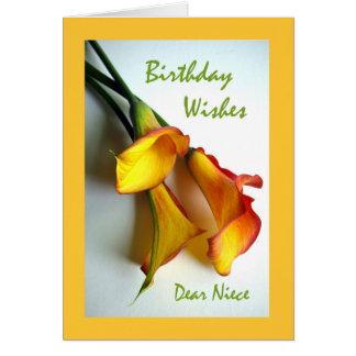 Deseos para una sobrina, calas del cumpleaños del tarjeta de felicitación