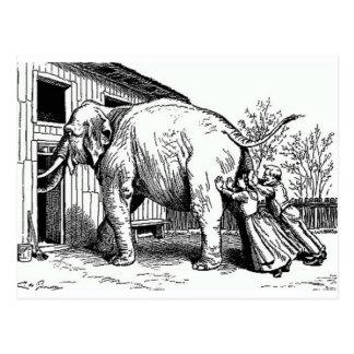 Desesperado - elefante empujado a través de postal