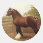Desfile antiguo del caballo de proyecto de pegatina redonda