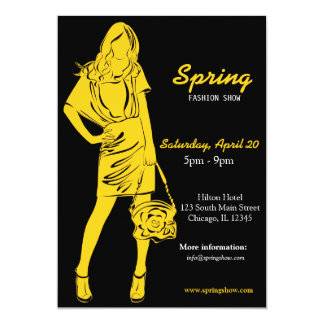 Desfile de moda (amarillo) invitación 12,7 x 17,8 cm