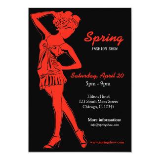Desfile de moda (Firebrick) Invitación 12,7 X 17,8 Cm