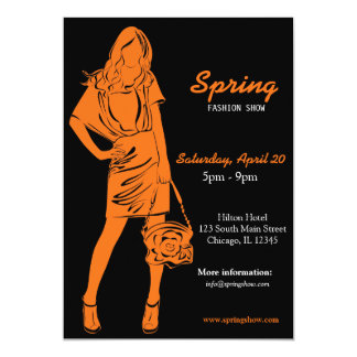 Desfile de moda (naranja) invitaciones personales