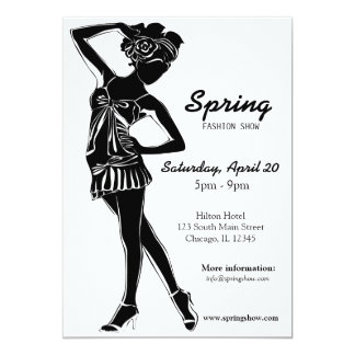 Desfile de moda (negro) invitación 12,7 x 17,8 cm