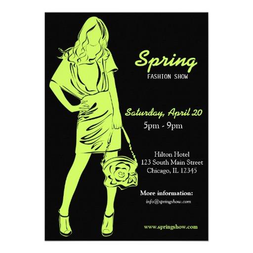 Desfile de moda (verde verde oliva oscuro) invitación