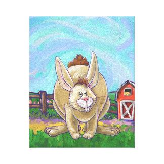 Desfile lindo del animal del conejo impresión en lienzo
