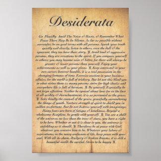 DESIDERÁTUMS en el papel de madera grabado en Póster