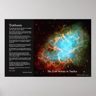 Desiderátums - la nebulosa de cangrejo en tauro impresiones
