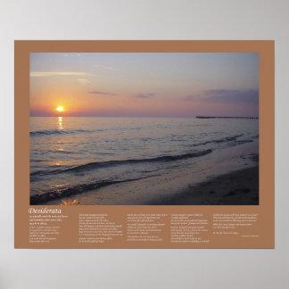 Desiderátums - ondas de la playa de la puesta del  poster