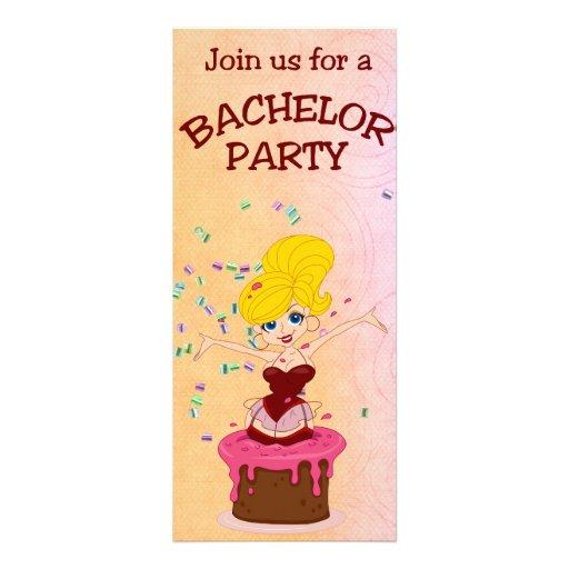 Despedida de soltero de la torta y del chica del b invitacion personalizada