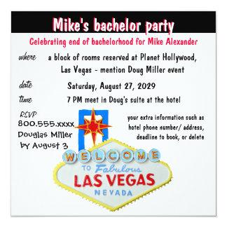 Despedida de soltero de Las Vegas de la diversión Invitación 13,3 Cm X 13,3cm