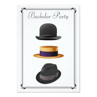 Despedida de soltero elegante del gorra de Fedora Invitación 12,7 X 17,8 Cm