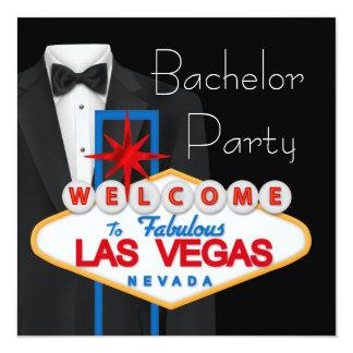 Despedida de soltero negra roja de Las Vegas del Invitación 13,3 Cm X 13,3cm