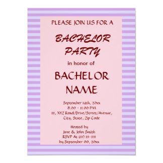 Despedida de soltero - rayas violetas, fondo invitación 13,9 x 19,0 cm
