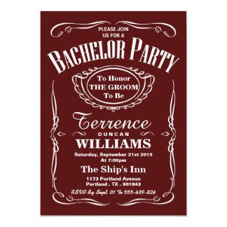 Despedida de soltero roja de moda de la tipografía invitación 12,7 x 17,8 cm