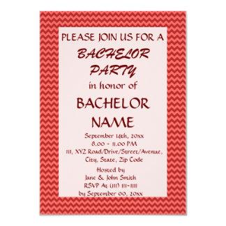 Despedida de soltero - zigzag rojo, fondo rosado invitacion personalizada