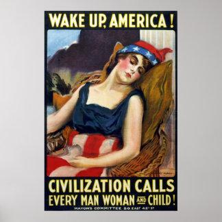 ¡Despierte América Poster de la Primera Guerra Mu