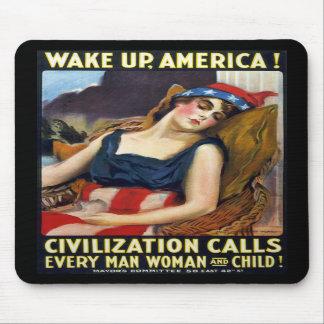 ¡Despierte América! Poster de la Primera Guerra Mu Alfombrillas De Ratones