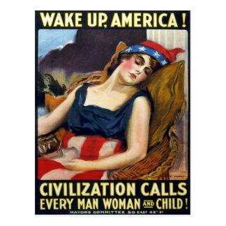 ¡Despierte América! Poster de la Primera Guerra Postal
