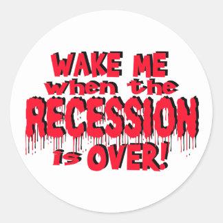 Despiérteme recesión etiquetas redondas