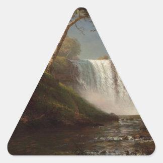 Destino de la cascada del bosque de la pintura de pegatina triangular