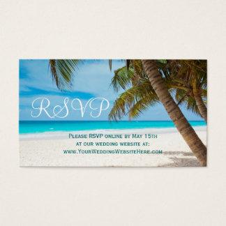 Destino de la playa de las palmeras que casa las tarjeta de negocios