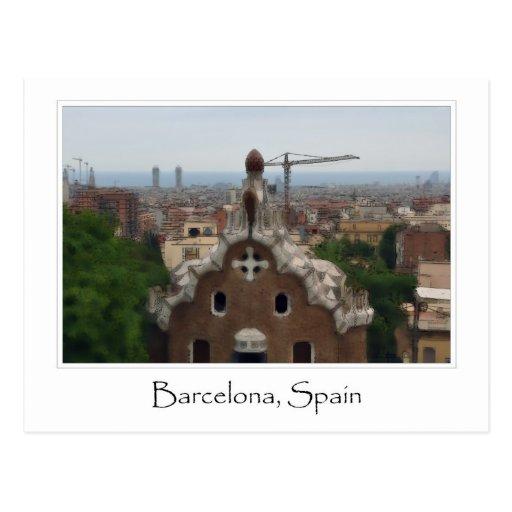 Destino del turista de Barcelona España Parc Guell Tarjeta Postal