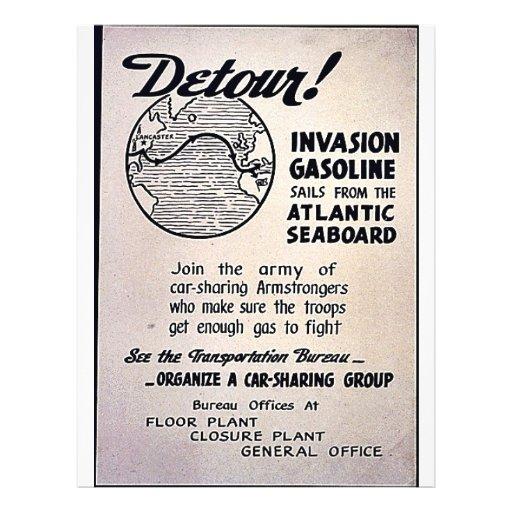 ¡Desvío! Velas de la gasolina de la invasión del A Tarjetas Publicitarias