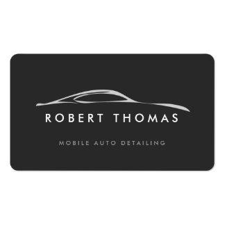 Detalle auto gris oscuro, reparación auto tarjetas de visita