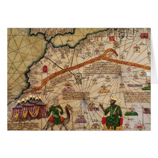 Detalle de la copia de un mapa catalán de Europa Felicitaciones