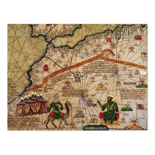 Detalle de la copia de un mapa catalán de Europa Tarjetas Postales