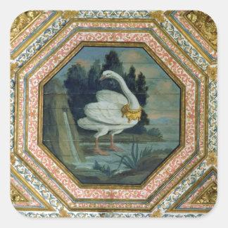 Detalle de la decoración del techo en el salón pegatina cuadrada