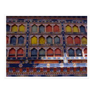 detalle de la ventana del dzong del paro postal