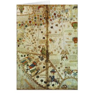 Detalle de un mapa del mundo catalán tarjeta de felicitación