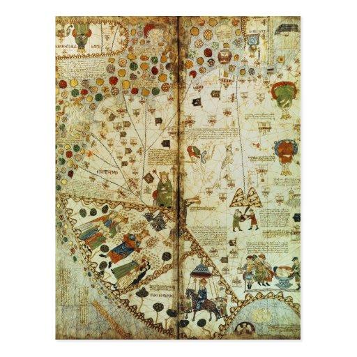 Detalle de un mapa del mundo catalán tarjetas postales