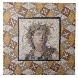 Detalle de un panel de piso romano de mosaico - azulejo cuadrado grande